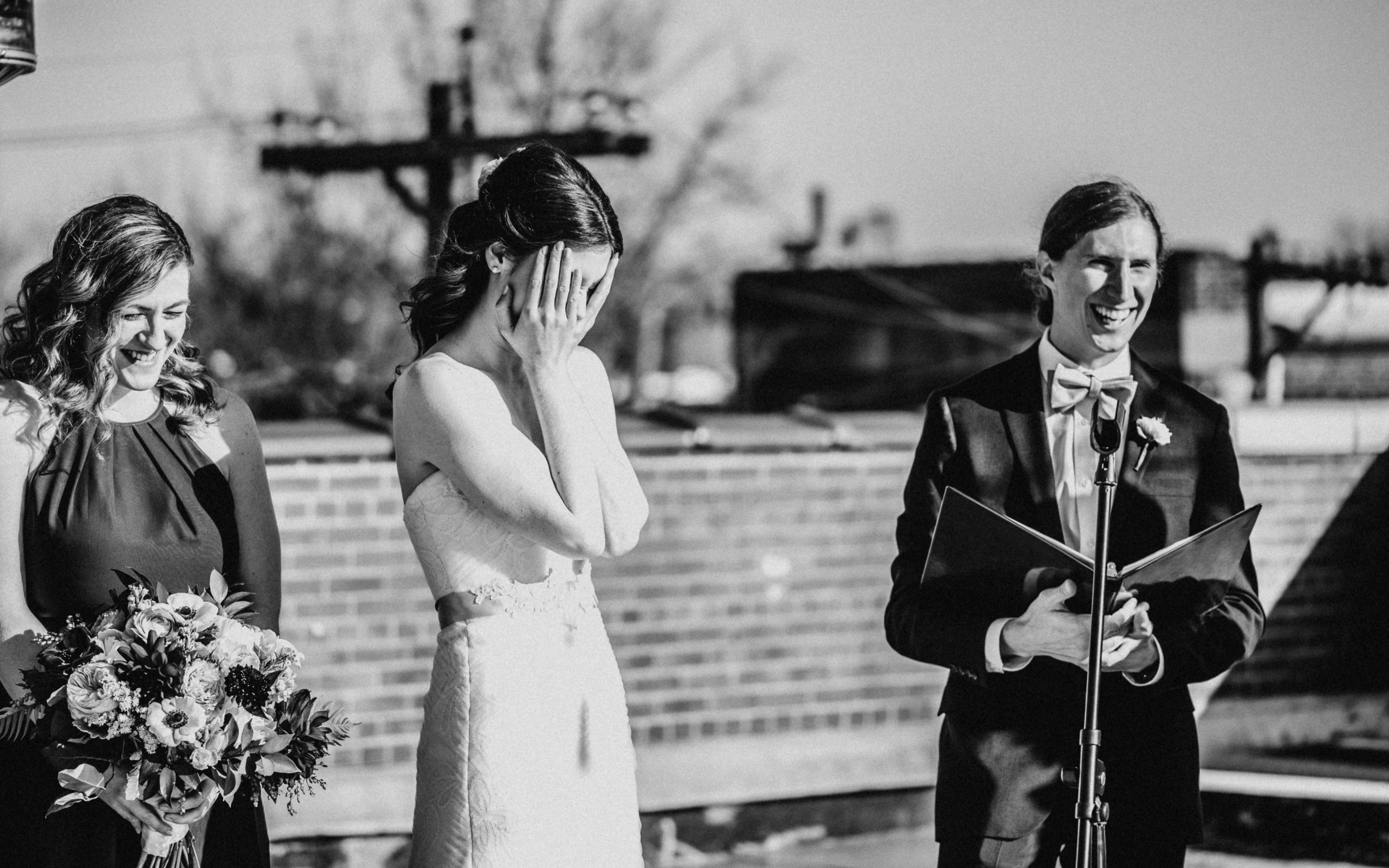 Fun ceremony wedding on rooftop